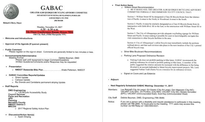 GABAC Agenda November 2017