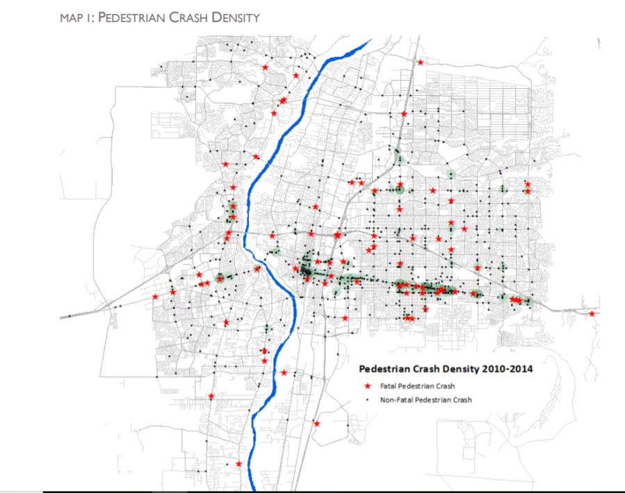 2010-2014 pedestrian crash fatality map