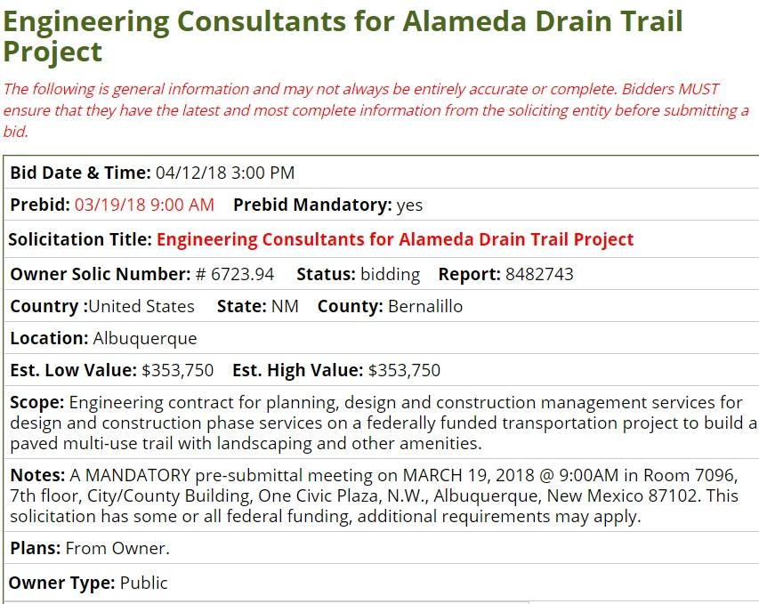 alameda drain project bid