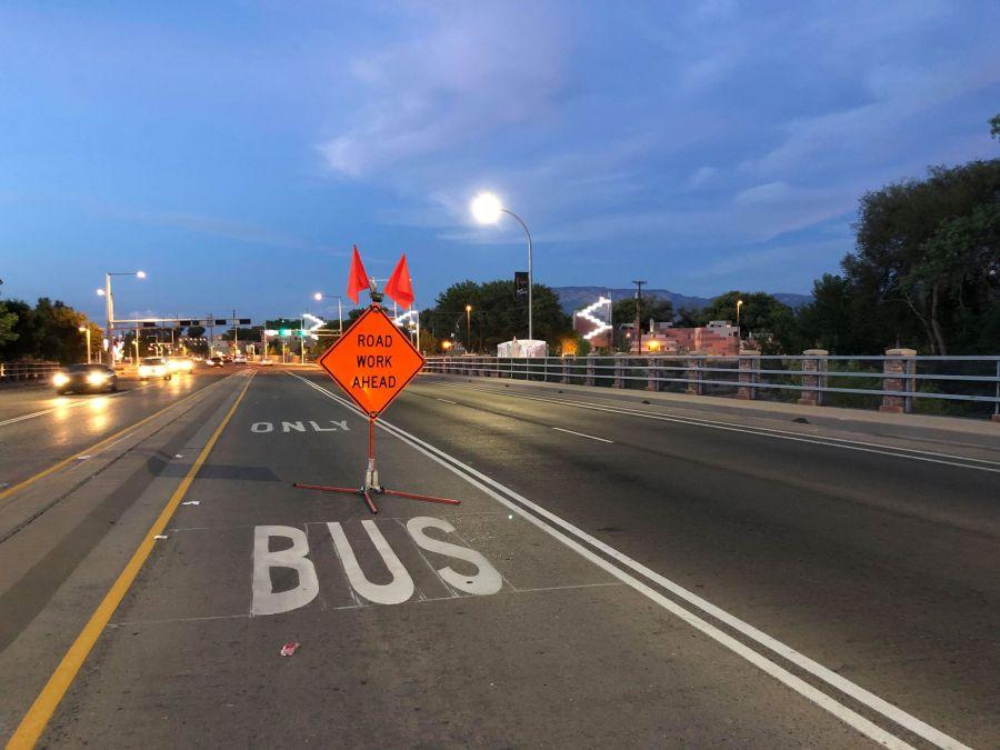 road work bus lane