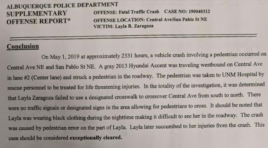 Layla Zaragoza Offense Report Conclusion