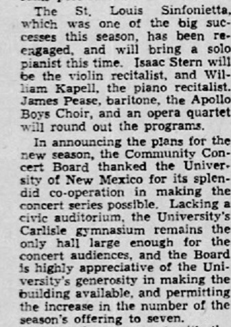 Isaac Stern at Gym Albuquerque_Journal_Tue__May_6__1947_